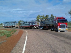 Another Road Train load of structural steel frames heading out to one of our valued customers